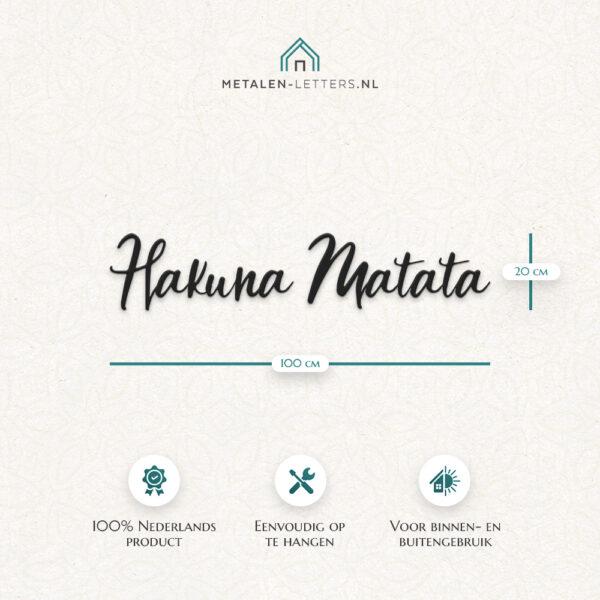 Afmetingen product metalen letters 'Hakuna Matata'